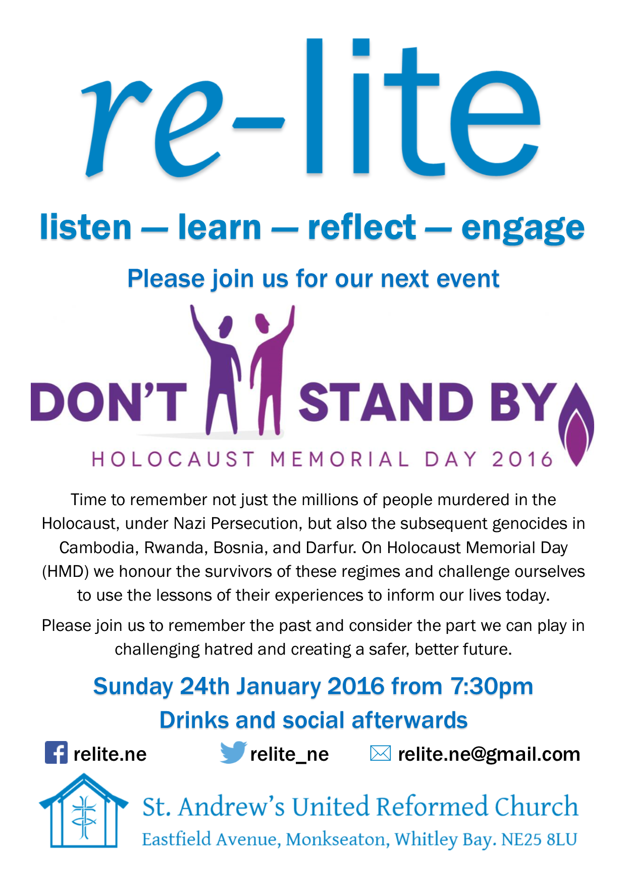 re-lite Holocaust Memorial Day 206 24 January 2016 7.30pm