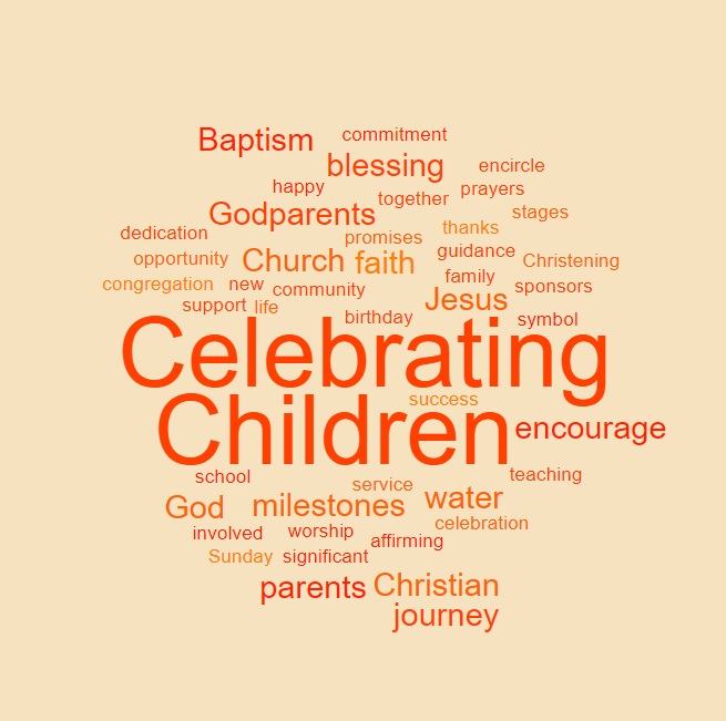 Celebrating Children Square Wordle Orange