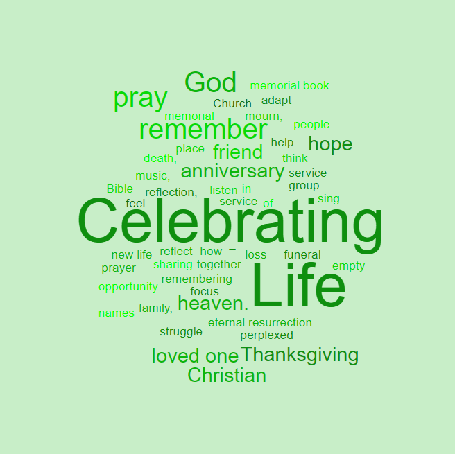 Celebrating Life Square Wordle Green