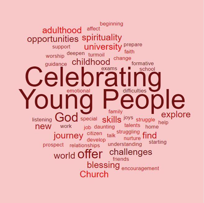 Celebrating Young People Square Wordle Red