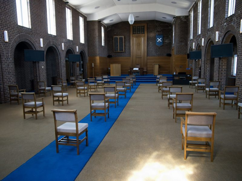 Image showing the layout of chairs in the church to maintain social distancing