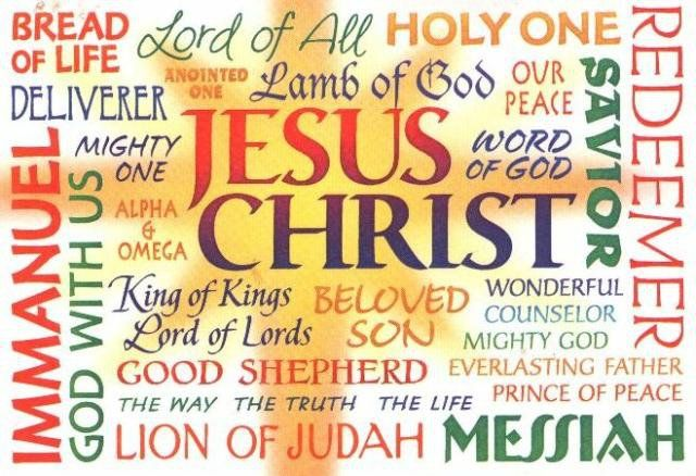 Word cloud of the various names of Jesus